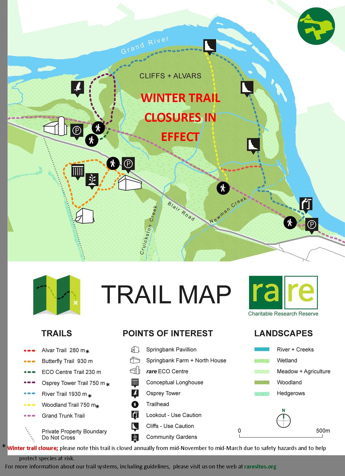 seasonal cliffs and alvars trail map